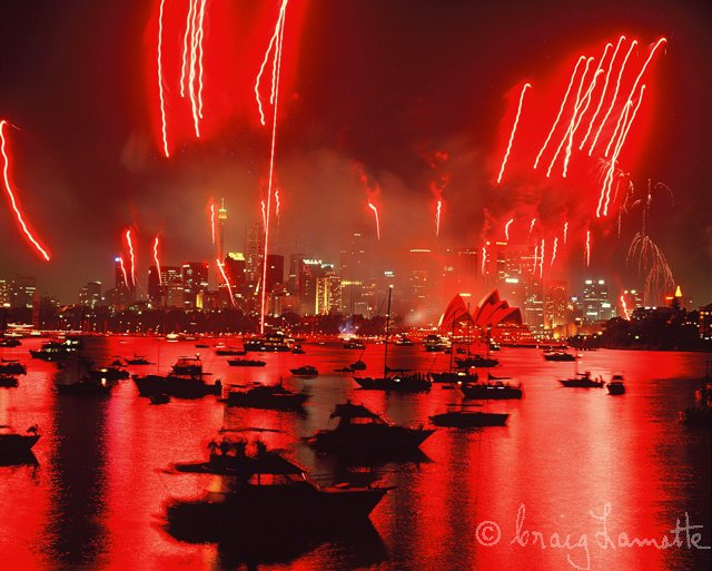 Sydney Harbour Fireworks (Red)