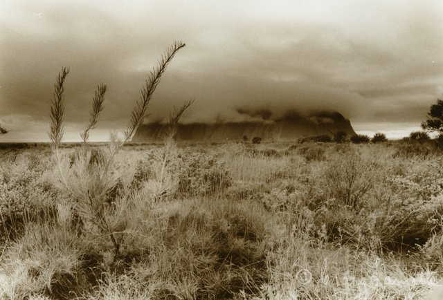 Lifting Cloud at Uluru (Sepia)